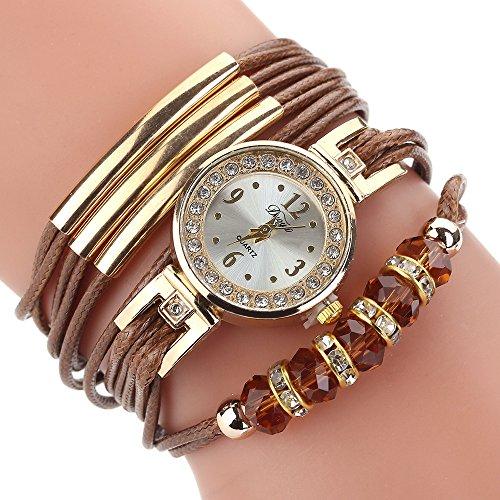 Hotsale! Wensltd Women Gift Luxury Bracelet Flower Gemstone Wristwatch (Brown-1)