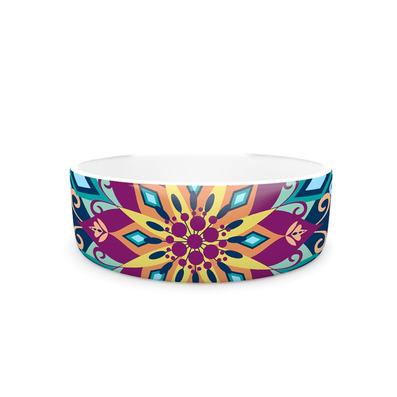 Kess InHouse Amanda Lane Blooming Mandala  Pet Bowl, 7-Inch