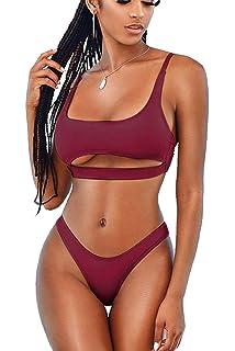 8b3247b7ba LEISUP Womens Cutout Crop Top High Cut Cheeky Two Piece Brazilian Bikini  Swimsuit