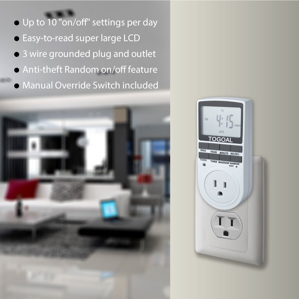 Smart Digital Light Timer with 3-Prong Outlet 7-day Programmable ...
