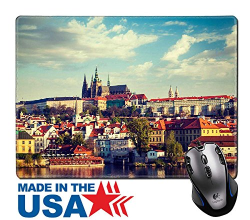 "MSD Natural Rubber Mouse Pad/Mat with Stitched Edges 9.8"" x 7.9"" Vintage retro hipster style travel image of Mala Strana and Prague castle over Vltava river Prague Czech Republic IMAGE - St Center Town Charles"