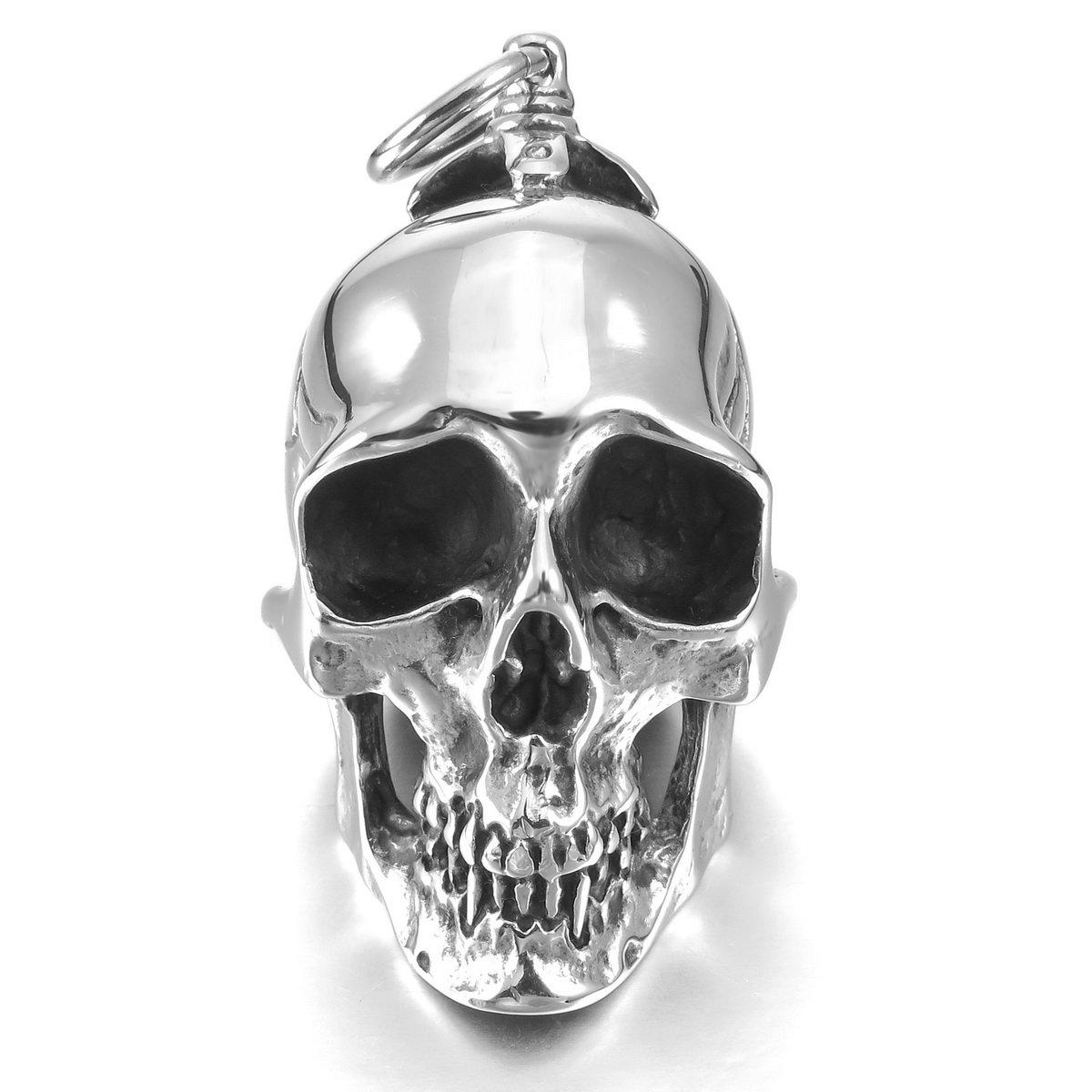 MunkiMix Grande Gran Pesado Fuerte Acero Inoxidable Colgante Collar El Tono De Plata Negro Cráneo Calavera Cruzar Cruz Hombre,Cadena 58cm vu1268