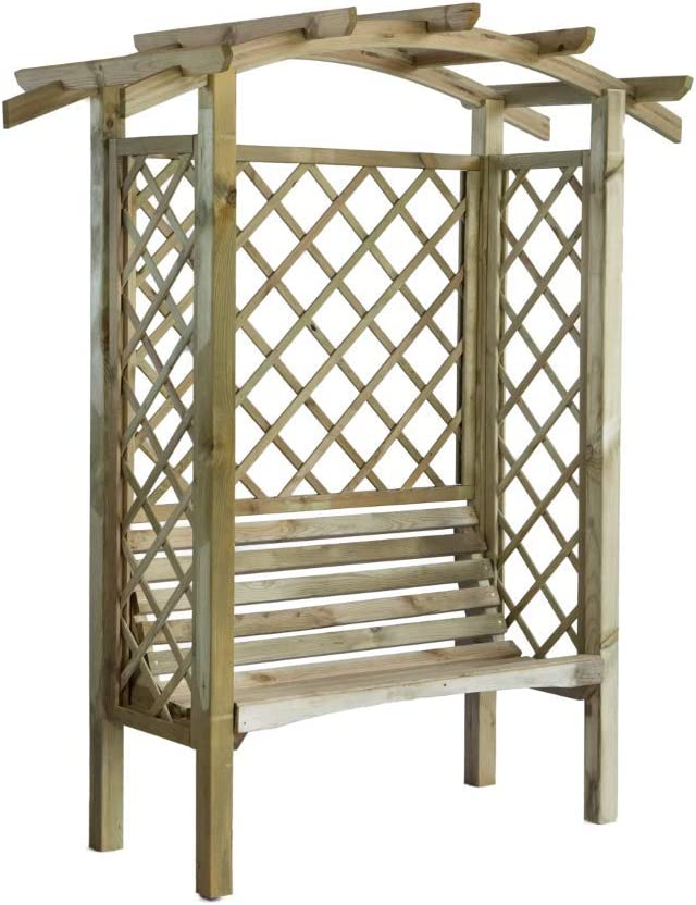 Cenador de madera con banco, lados enrejados y techo en forma de arco. Dimensiones: Altura 208 x 180 cm x 85 cm