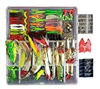 270Pcs 1 Set Fishing Tackle Lots Fishing Baits Kit Set With Free Tackle Box For Freshwater Trout Bass Salmon