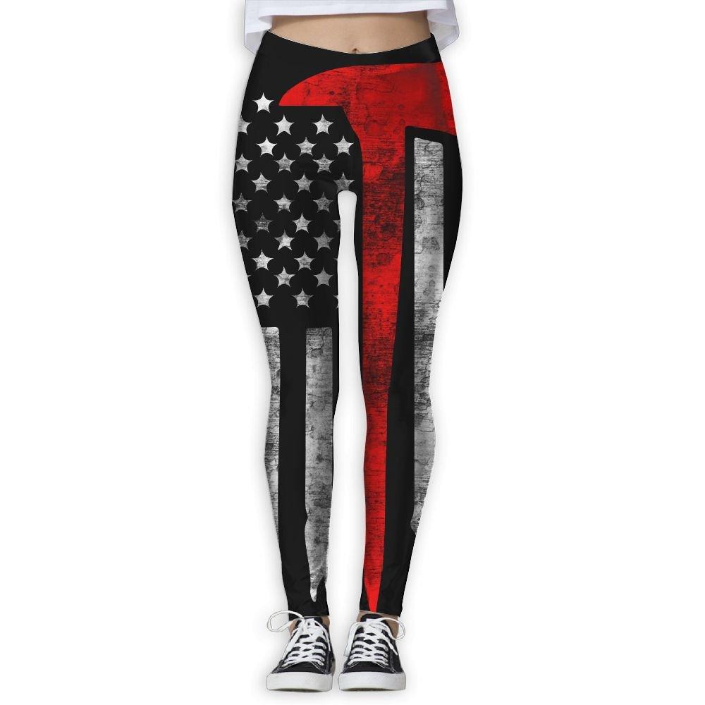 513b81de98 Amazon.com   Thin Red Line Firefighter Flag Women s Slim Workout Full  Length Yoga Pant Skinny Leggings Pants   Sports   Outdoors