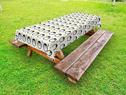 Lunarable Penguin Outdoor Tablecloth, Funny Aquatic Bird Faces with Comic Doodle Stars Childish Toddler Animal, Decorative Washable Picnic Table Cloth, 58 X 104 inches, Yellow Black White by Lunarable