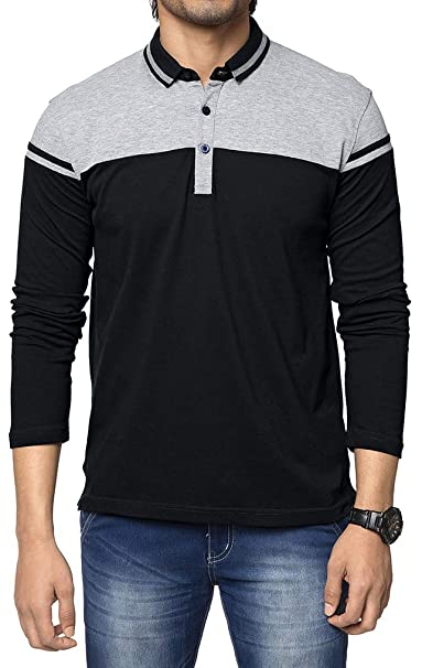 fc3756bf97d05 ZEYO Men s Cotton 2-Blocked Black   Grey Polo Tshirt Full Sleeve ...