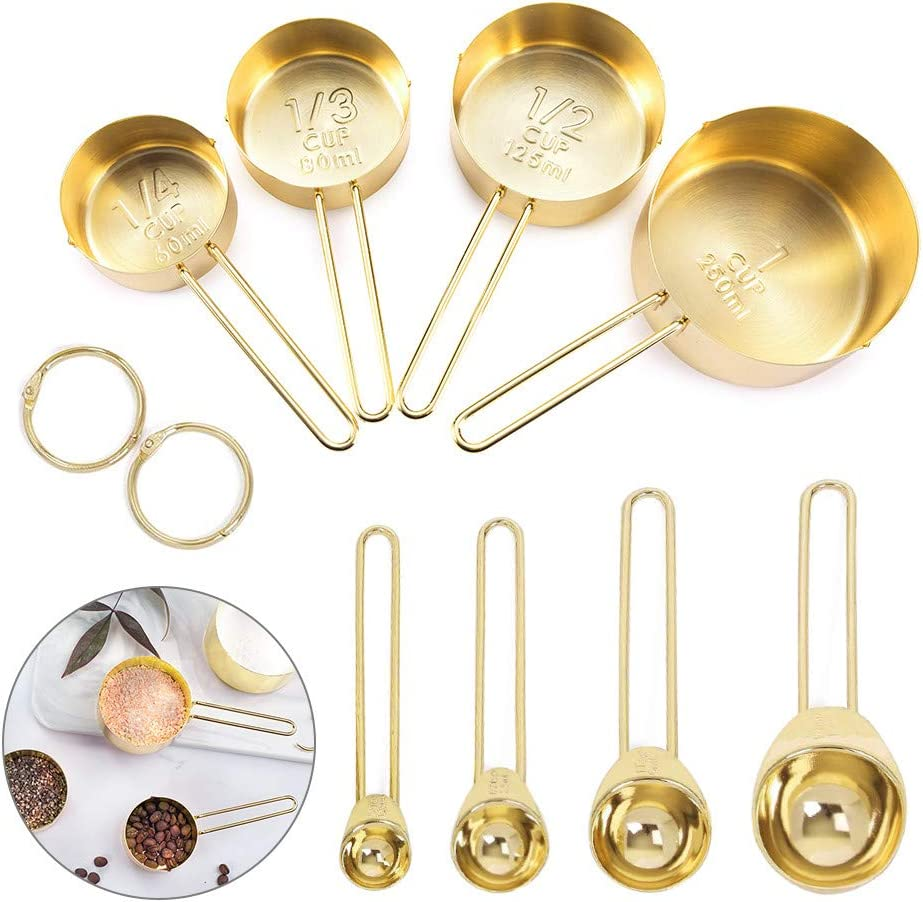 Global-store Measuring Spoons and Cups, 8 Piece Stainless Steel Measuring Cups, Spoons Set with Engraved Marking Ruler for Measuring Dry & Liquid Ingredient Baking Cooking/Mixing/Food Processing(Gold)