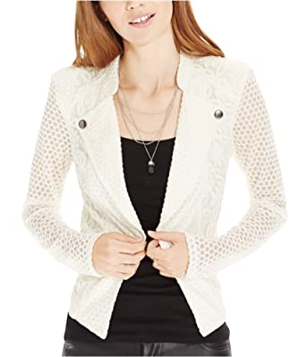 7d98b4f594e02 Amazon.com  Material Girl Womens Lace Motorcycle Jacket Off-White S ...