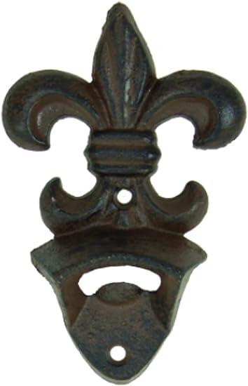 Cast Iron Fleur De Lis Bottle Opener Rustic Green Bronze