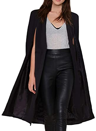 Azbro Mujer Chaqueta Negra Con Capa Abierta Delantera, Negro ...