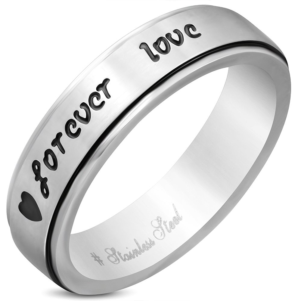5mm XXR669 Stainless Steel 2-Tone Forever Love Comfort Fit Wedding Flat Band Ring