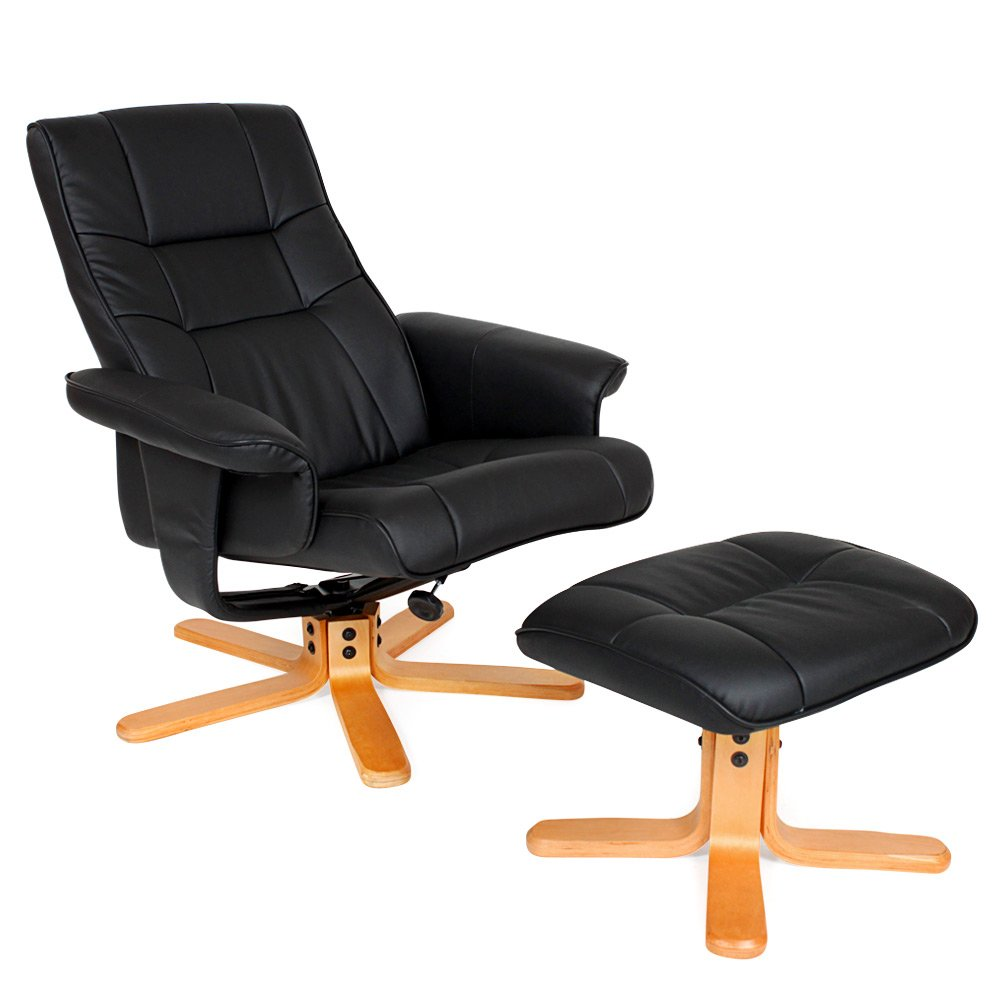 TecTake Luxury Faux Leather TV Armchair Recliner With Footstool Relaxer Chair With Wooden Feet Black Amazon.co.uk Kitchen u0026 Home  sc 1 st  Amazon UK & TecTake Luxury Faux Leather TV Armchair Recliner With Footstool ... islam-shia.org