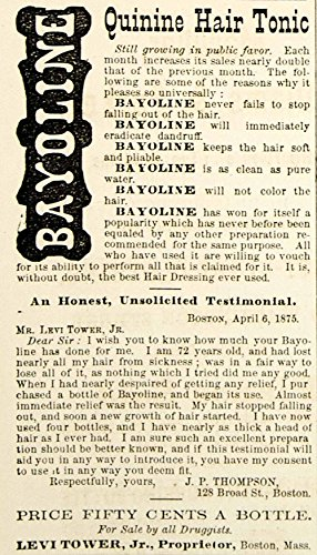 1875 Ad Antique Bayoline Quinine Hair Loss Tonic Dressing Dandruff Levi Tower Jr - Original Print (Tower Tonic)