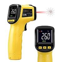 URCERI Digital Laser Infrarot Thermometer mini IR Pyrometer IR-89,berührungslos Temperaturmessgerät Temperaturmesser, -50 bis +580°C, LCD Beleuchtung, Farbdisplay Gelb/Schwarz