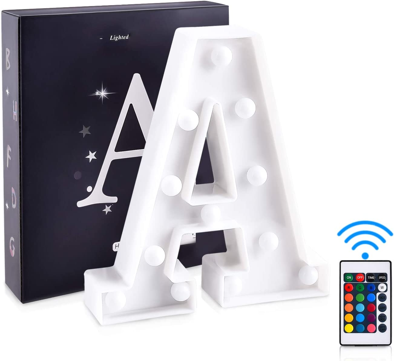 S ZRO LED Letter Lights 16 Colors-Changing 3D Night Lamp 26 Alphabet A-Z LED Marquee Sign with Remote Control for New Year Eve Valentines Day Home Decor Birthday Party Wedding Bedroom Wall Decor
