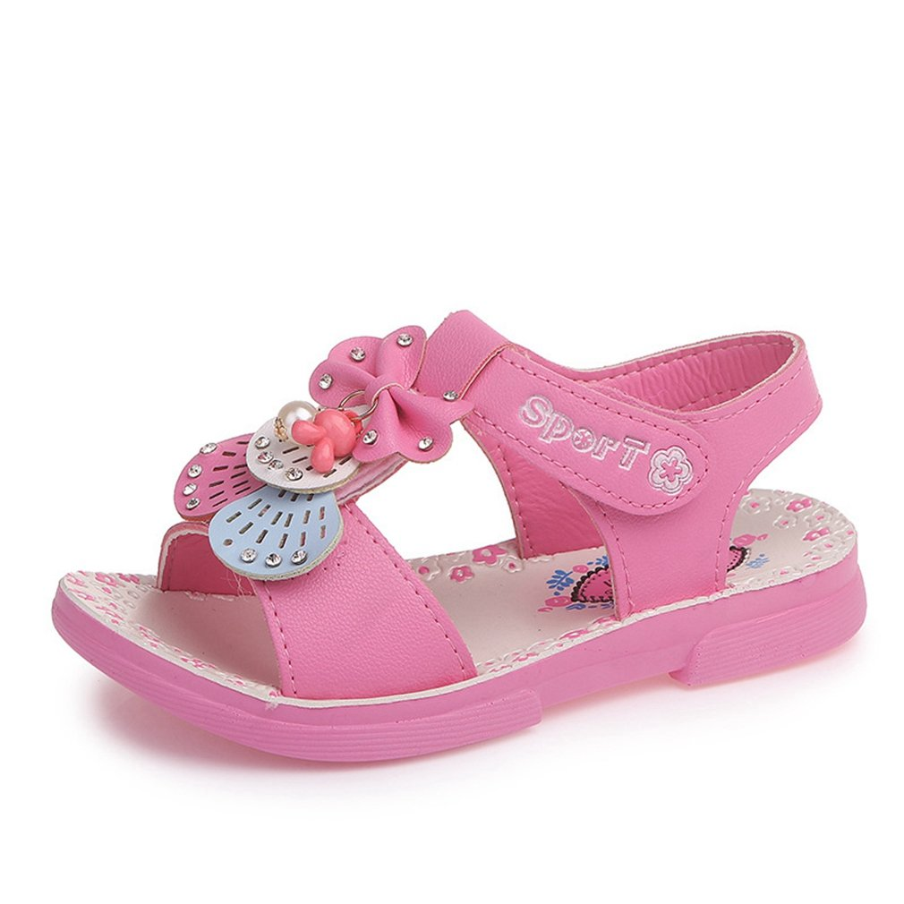 CYBLING Girls Flat Flower Leather Sandals Open Toes Sport Beach Shoes