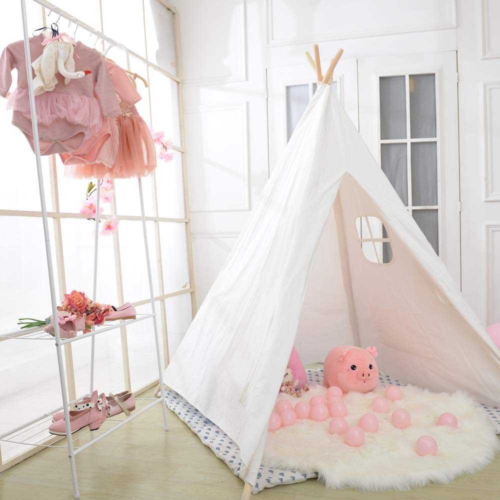 Wilwolfer Teepee Tent for Kids Foldable Children Play Tent for Girl and Boy with Carry Case 4 Poles White Canvas Playhouse Toy for Indoor and Outdoor Games