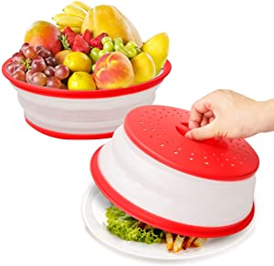Microwave Splatter Cover for Food,Vented Collapsible Plate Dish Containers Guard Lid with Holes for Hanging,Suitable for Washing Fruits and Vegetables,BPA-Free Silicone & Plastic Safe - 2PC Red
