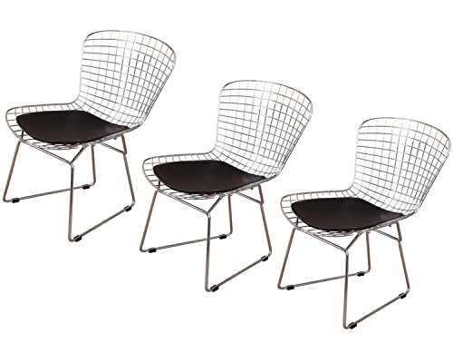 MLF Harry Bertoia Wire Side Chair Set of 3 . Chromed Wire Frame with Plastic Feet PU Leather Cushion. Black