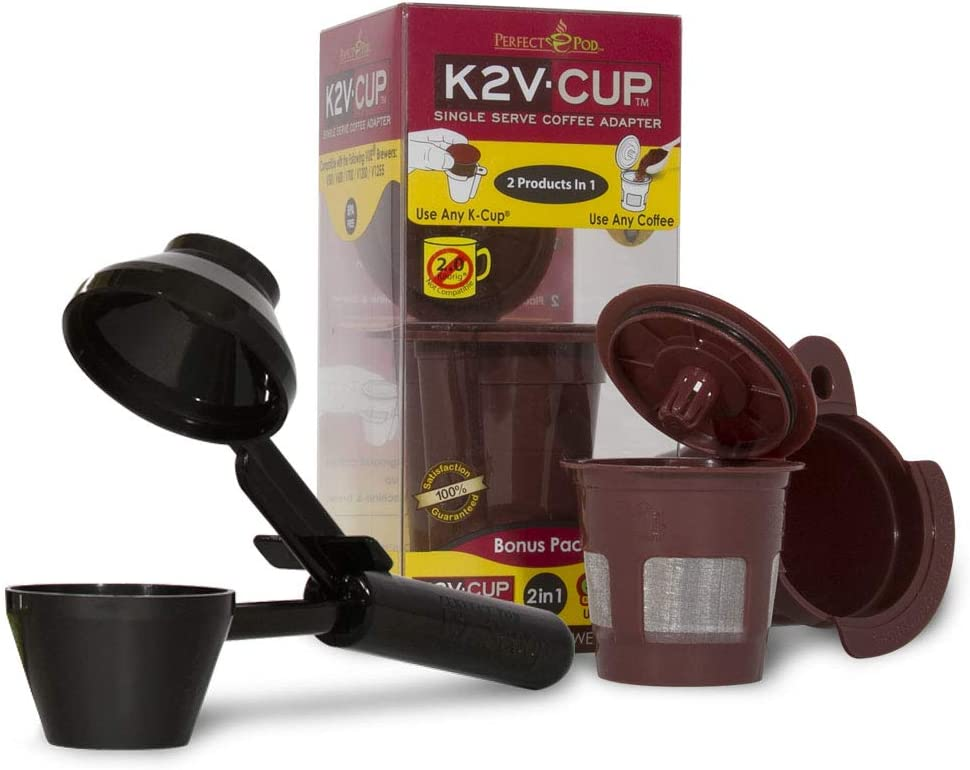 Perfect Pod K2V Cup Adapter, Reusable Filter, and EZ-Scoop | Compatible with Keurig VUE Single-Serve Coffee Brewer (Reusable K-Cup + Coffee Scoop)