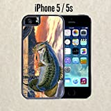 iPhone Case Pro Fishing Bass Mouth for iPhone 5 / 5s Black 2 in 1 Heavy Duty (Ships from CA) With Free .33 mm Premium Tempered Glass Screen Protector