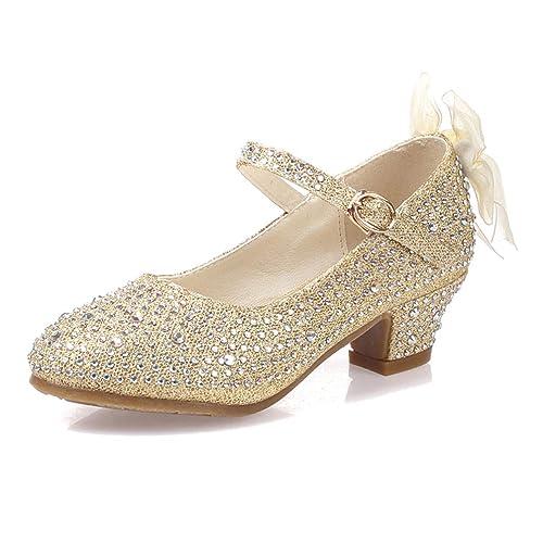 e0cc40216 Zapatos de niña Zapatos de niña de tacón Alto con Brillo de Mariposa  Zapatos de niña de tacón Alto con Sandalias de Fiesta  Amazon.es  Zapatos y  ...