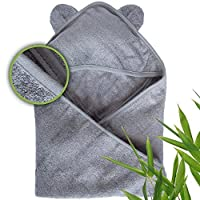 Moon and Baby Hooded Bath Towel, Crafted from Naturally Soft Organic Bamboo f...
