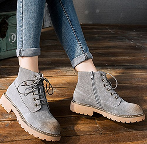 Women's Ankle Aisun Gray Mid Top lace Up Boots Heels Trendy pFFIdq