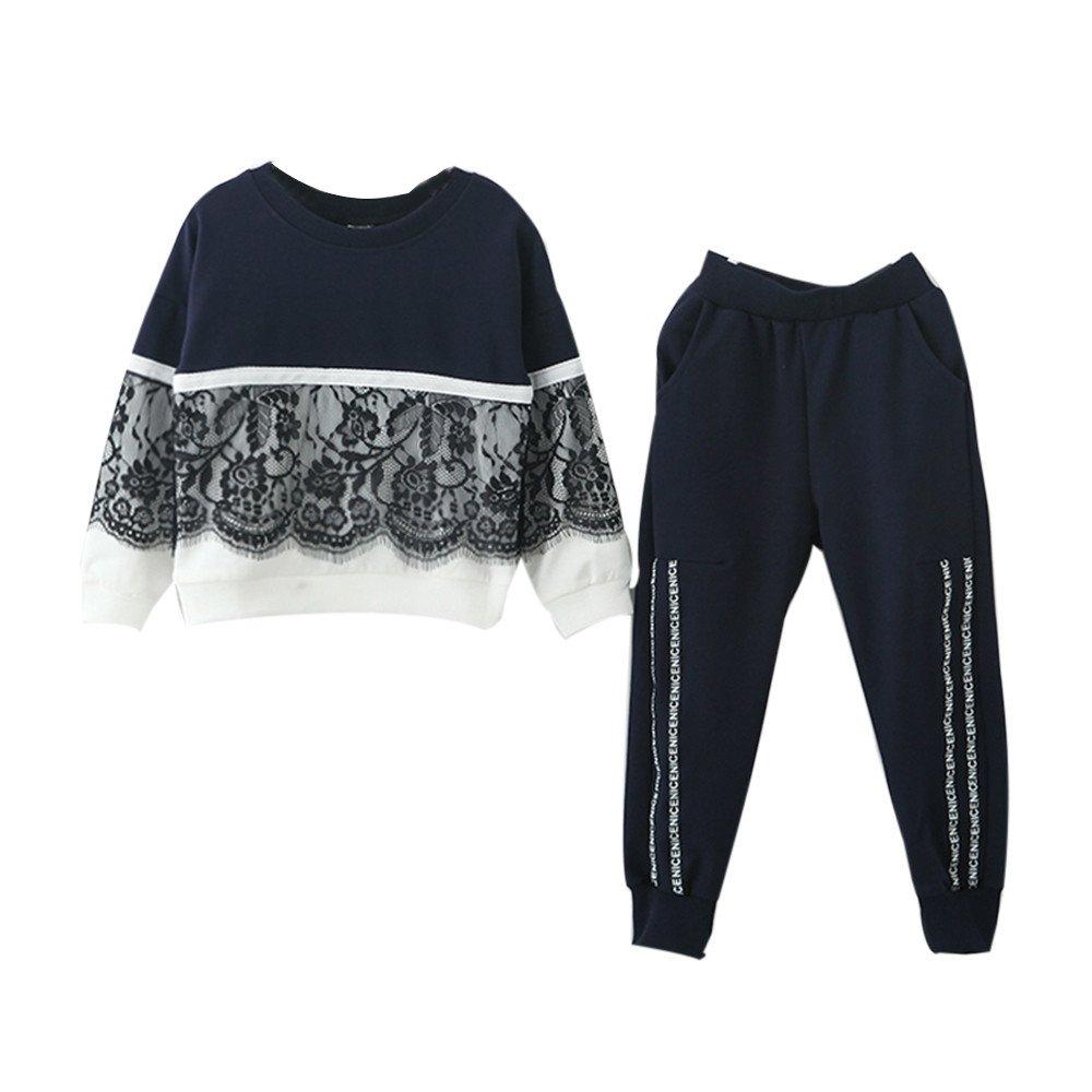 Kinderkleid Honestyi Kleinkind Kinder Baby Mädchen Spitze Pullover Sweatshirt Tops + Hosen Outfits Kleidung Set (Marine Roas,130) Honestyi5040