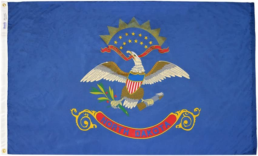 Annin Flagmakers Model 144170 North Dakota State Flag 4x6 ft. Nylon SolarGuard Nyl-Glo 100% Made in USA to Official State Design Specifications.