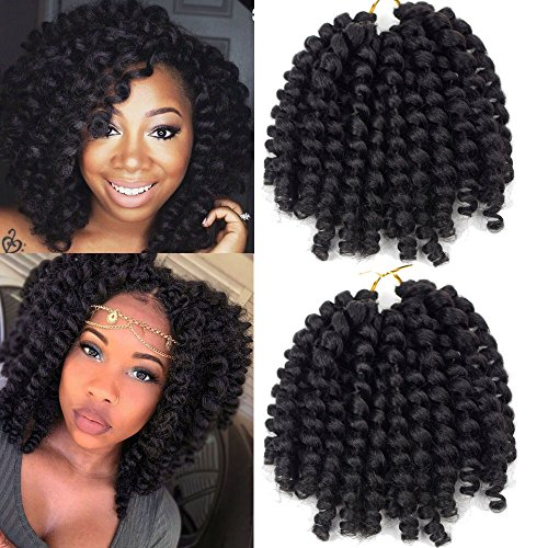 Crochet Braids Hair 2X Ringlet Wand Curl 3 Packs 8 inch Jamaican Bounce Havana Mambo Twist Braiding Hair (1B) - Hair Ringlets