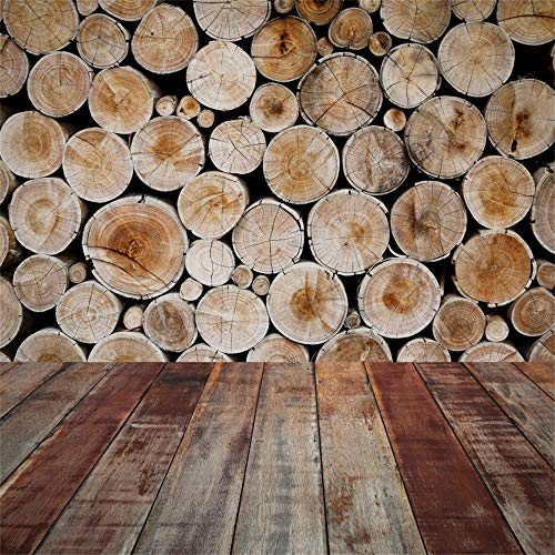 LFEEY 8x8ft Chopped Wood Stack Backdrop Log Wood Hardwood Floor Photo Shoot Timber Pile Background Lumber Photography Studio Props Video Drop Kid Baby Newborn Child Toddler Infant Artistic Portrait (Hardwood Floor For Photography)