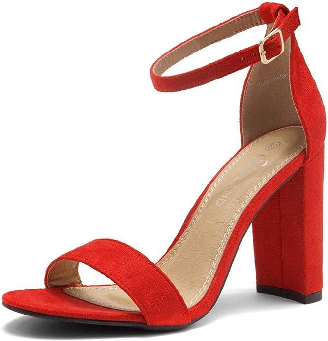 Amazon.com | Shoe Land SL-ROSEMMINA Womens Dress Formal Wedding Party Shoes Comfort Open Toe Ankle Strap Chunky Block High Heel Sandals | Heeled Sandals