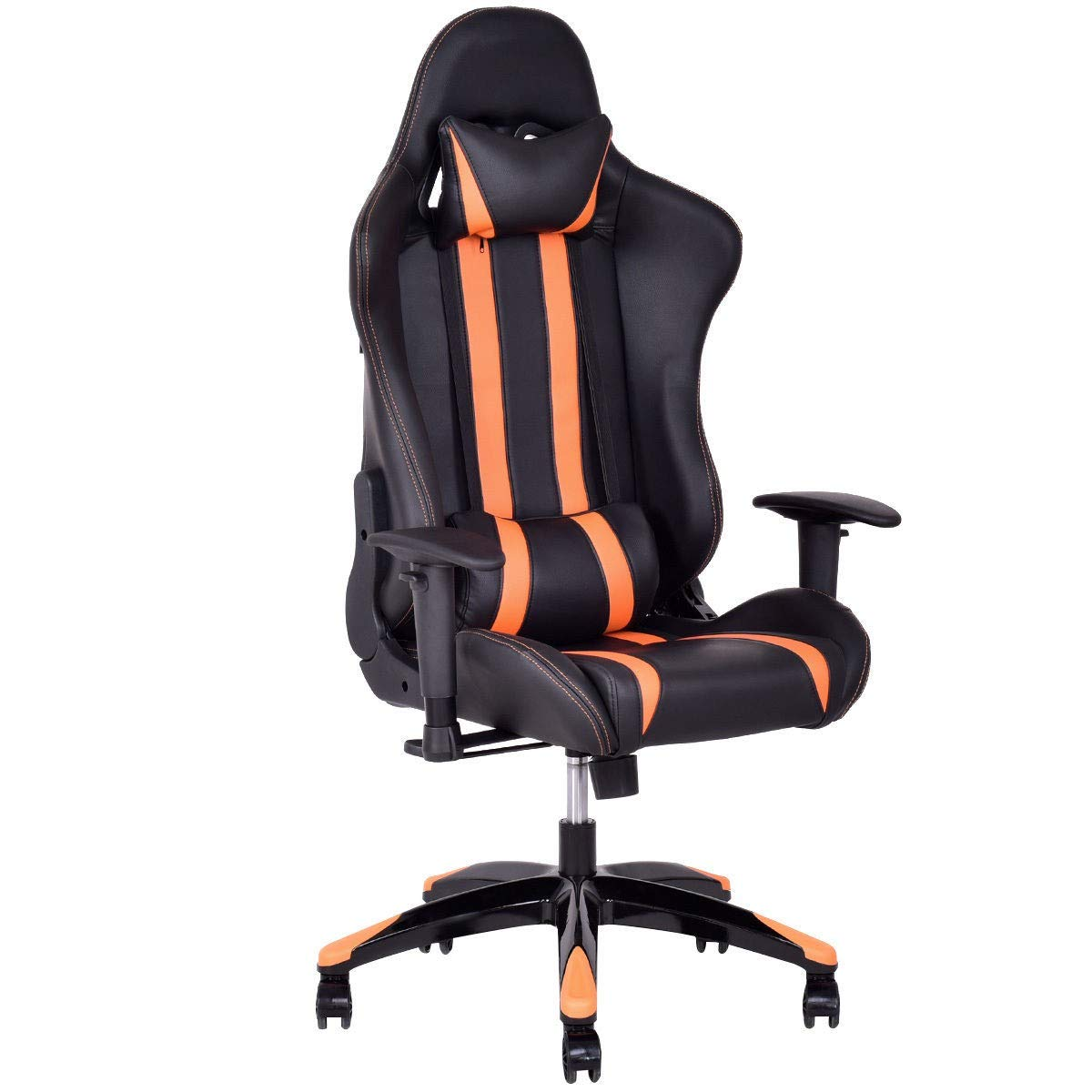 Dayanaprincess High-Back Reclining Racing Gaming Chair with Head-Rest Pillow Contemporary Design Comfortable Seat with Armrest Solid Construction Workstation Home Office Furniture (Orange) by Dayanaprincess (Image #1)