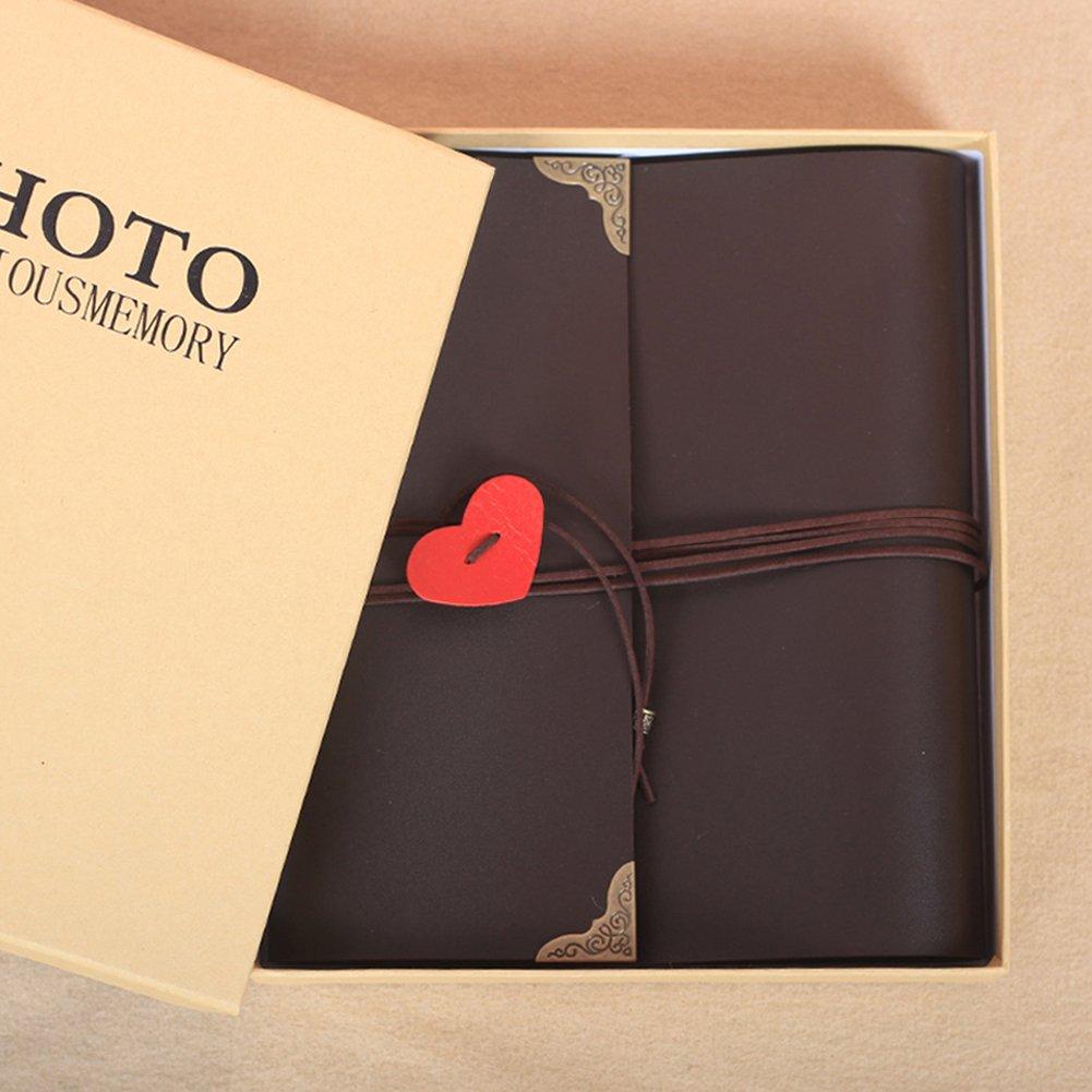 Guwheat álbum de foto, scrapbooking 60 páginas de arte DIY aniversario DIY arte de papel, álbum de fotos de la boda regalo para cumpleaños, boda, aniversario (Grande, Negro) 22e363