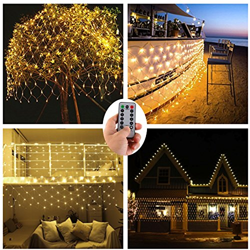 Battery Operated Led Net Mesh Lights,9.8ft x 6.6ft 200 Warm White LEDs,Outdoor String Decorative Lights for Window Wall Sweetheart Table Background Camping Beach [Remote,8 Mode,Timer,Dimmable] by DealBeta