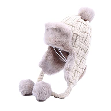 420c774a Bomber Hat Women Winter Wool Knitted Snow Hats Maple Leaf Trapper Aviator  Cap Fox Fur Earflaps Fleece Caps at Amazon Men's Clothing store: