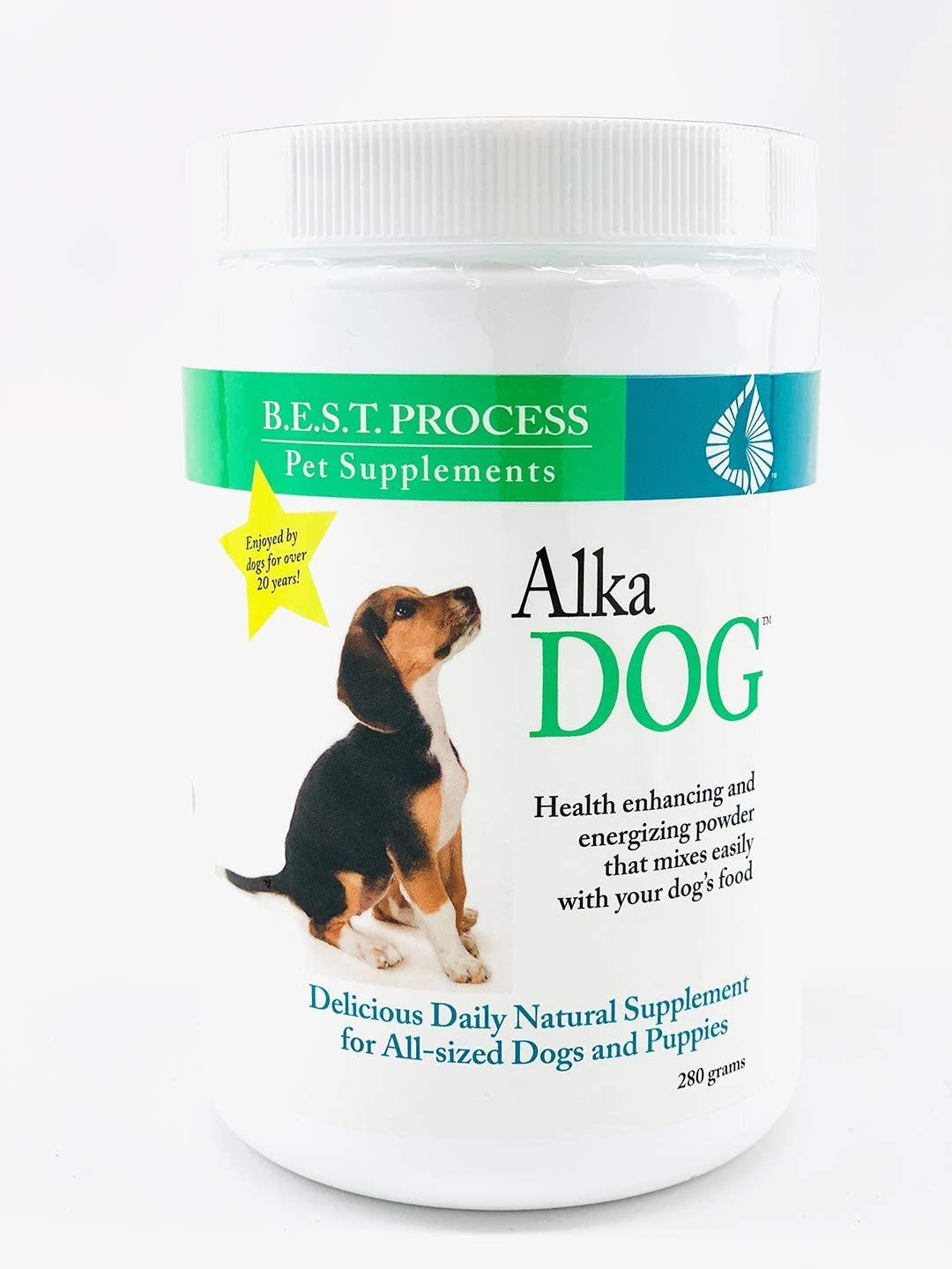 Alka-Dog Natural Multivitamin for Dogs with Antioxidants, Digestive Enzymes, Chlorophyll Beef Liver for Healthy Skin, Coat, Eyes, Breath, Digestion, Immunity