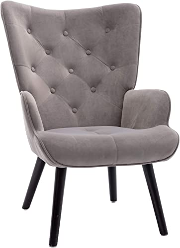 Dolonm Velvet Accent Chair Modern Tufted Button Wingback Vanity Chair