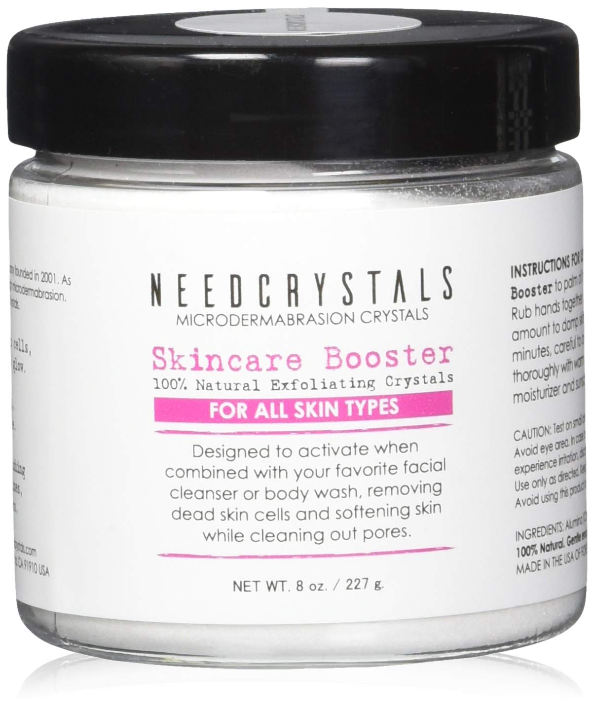 NeedCrystals Microdermabrasion Crystals 8 oz. / 227 gr. DIY Face Scrub. Natural Facial Exfoliator for Dull or Dry Skin Improves Acne Scars, Blackheads, Pore Size, Wrinkles, Blemishes & Skin Texture by NeedCrystals