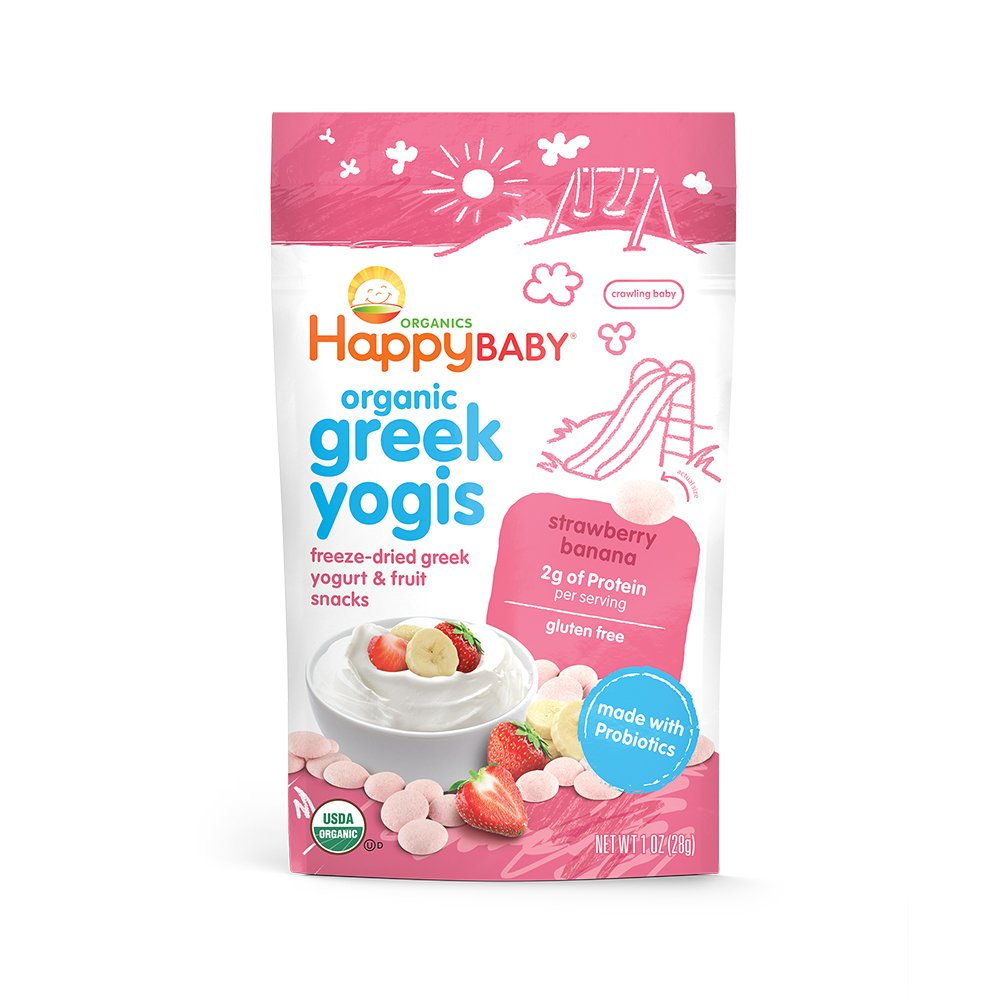 Happy Baby Organic Greek Yogis Freeze-Dried Greek Yogurt and Fruit Snacks, Strawberry/Banana, 1 Ounce