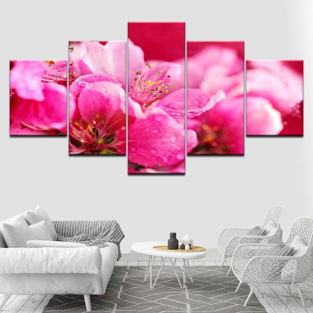 WPFZH 5 Pieces Canvas Decorative Painting Hot Pink Flowers Wallpapers Wall Art Canvas Print Poster Modular Art Painting for Living Room Home Decor-30x40 30x60 30x80cm