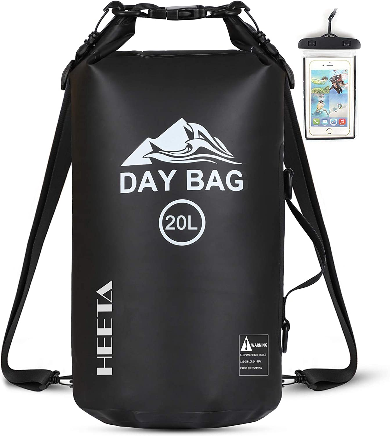 HEETA Waterproof Dry Bag for Women Men, Roll Top Lightweight Dry Storage Bag Backpack with Phone Case for Travel, Swimming, Boating, Kayaking, Camping and Beach (Black 20L)