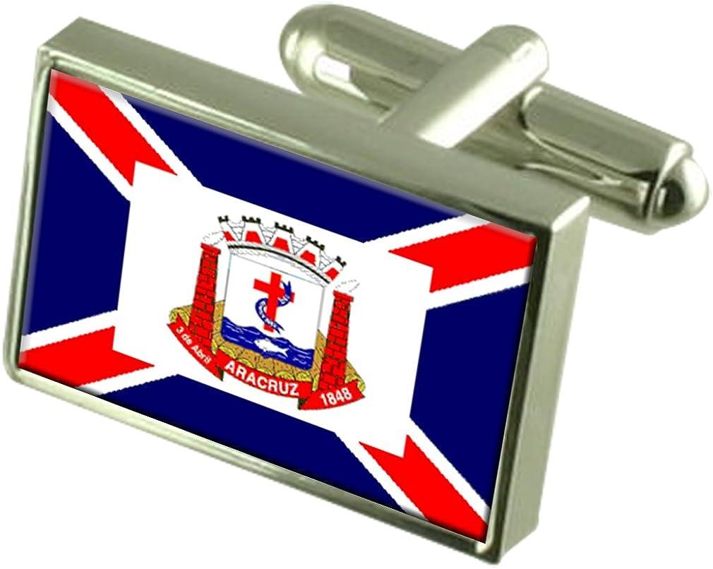 Aracruz City Espirito Santo State Sterling Silver Flag Cufflinks Engraved Box