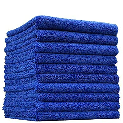 "(10-Pack) THE RAG COMPANY 16 in. x 16 in. Professional Edgeless 70/30 Blend 420 GSM Dual-Pile Plush Microfiber Auto Detailing Towels ""Creature Edgeless"""