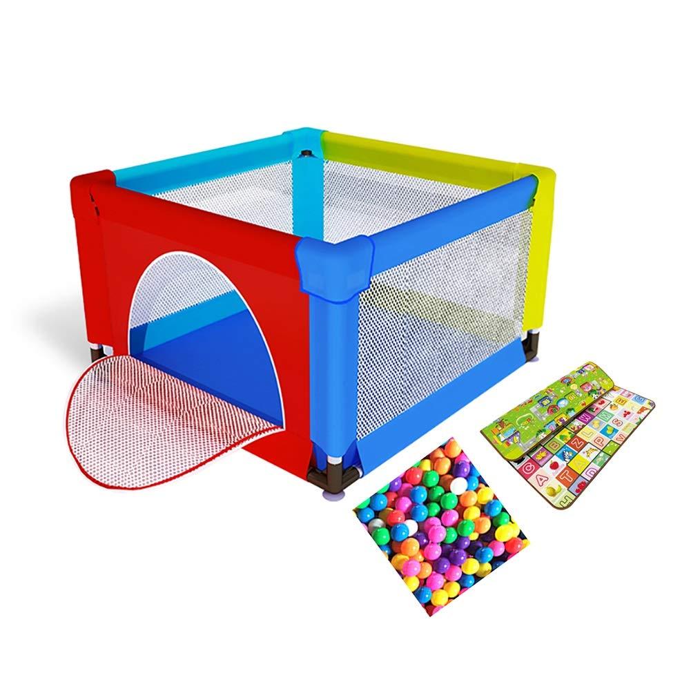 プレイ盤 クロールマットとオーシャンボール、転がり防止と衝突防止をする子供向けの非常に高い安全性のベビープレーペン、120×120×70 cm (色 : カラフル)  カラフル B07PHZ2749