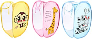 vanki Deluxe Mesh Pop-Up Laundry Hamper with Side Pocket and Handles,Cartoon Theme- Giraffe/Monkey/Rabbit 3pcs