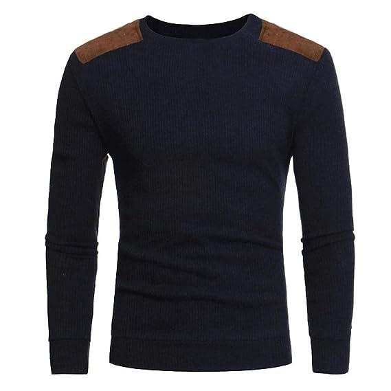 Amlaiworld_Hombre Suéteres de Hombres otoño Invierno Jersey Tops Blusa (M, Armada)