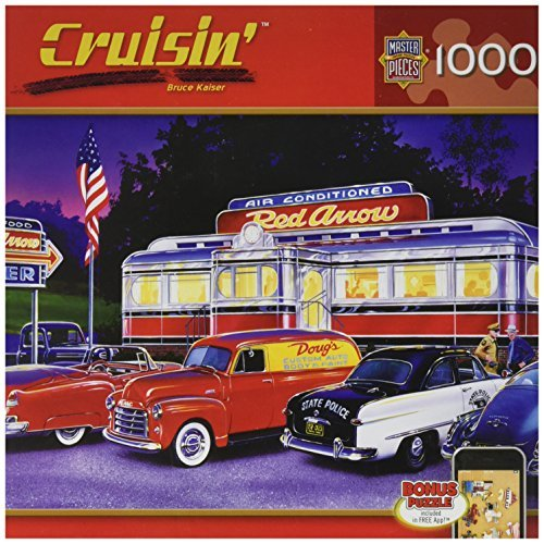 MasterPieces Puzzle Company Cruisin' Dinner at the Red Arrow Jigsaw Puzzle (1000-Piece), Art by Bruce Kaiser by MasterPieces